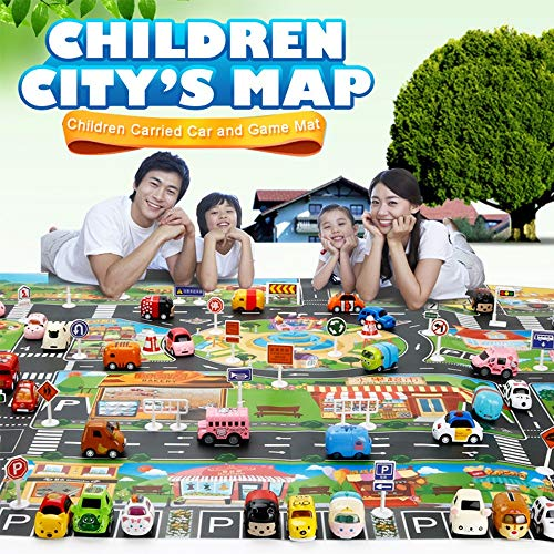 (Kids Carpet Playmat Rug Children's Educational, Road Traffic System, Multi Color Activity Centerp Play Mat Great for Playing with Cars and Traffic Sign)