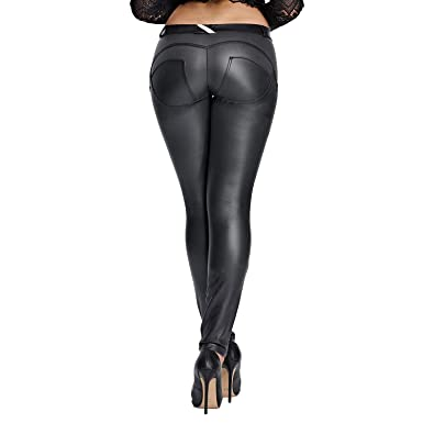 e8f00254763aa Faux Leather PU Elastic Shaping Hip Push Up Pants Black Sexy Leggings for  Women ((