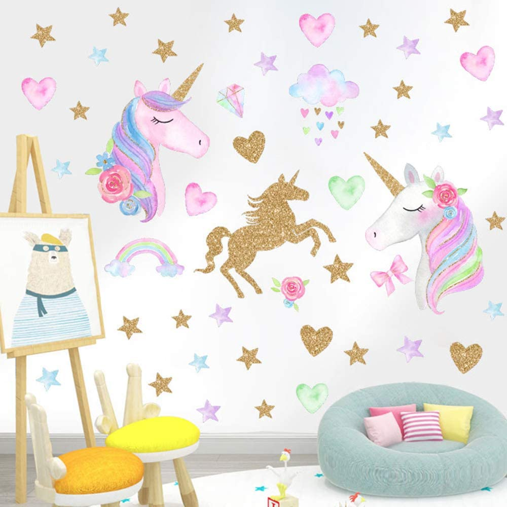 4Sheets Unicorn Wall Decor Large Size Removable Unicorn Wall Decals Stickers Decor for Girls Bedroom Wall Decals Unicorn for Nursery Birthday Party Favor Home Decor
