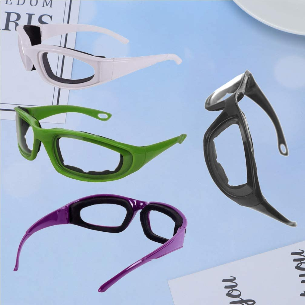 schwarz + wei/ß + gr/ün + lila Yarnow 4 St/ück Zwiebelbrillen K/üchensicherheitsbrillen rei/ßfest Schutzbrille Augenschutz zum Schneiden Hacken Kochen