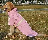 JYHY Dog Raincoat Adjustable Reflective Waterproof Lightweight Dog Rain Jacket with Hood for Small Medium Large Dogs,Pink L