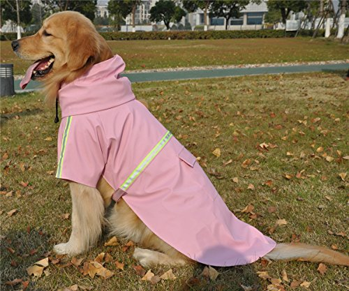 JYHY Dog Raincoat Adjustable Reflective Waterproof Lightweight Dog Rain Jacket with Hood for Small Medium Large Dogs,Pink 2XL