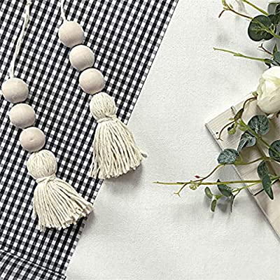 Sevenfly 2Pcs Wood Bead Garland Farmhouse Beads With Tassels Rustic Home Decor Prayer Beads Wall Hanging Decor(Wood color): Toys & Games