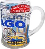 History of Chicago Famous Icons Glass Beer Mug