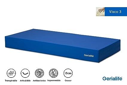 Gerialife® Colchón Geriátrico Hospitalario Articulado | 3 cm de Viscoelástica | Funda Sanitaria Impermeable (90x190)