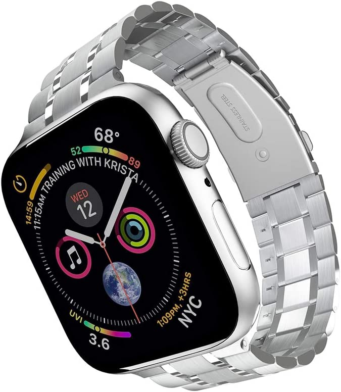 Compatible with Apple Watch Band 38mm 40mm 42mm 44mm, Upgraded Version Solid Stainless Steel metal Wristband Replacement for iWatch Series 5/4/3/2/1 (Silver, 38mm/40mm)