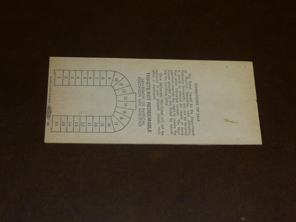 1953 DARTMOUTH AT PRINCETON COLLEGE FOOTBALL FULL TICKET EX MINT