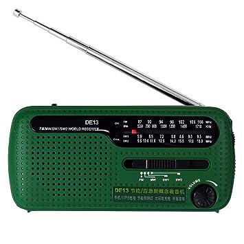 Mallalah - Radio portátil con manivela LED, iluminación de ...