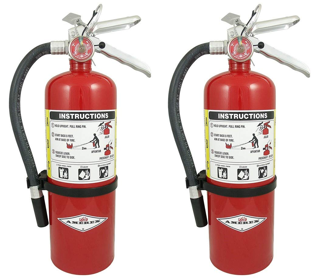 Amerex B402 QWMLBB 5lb ABC Dry Chemical Class A B C Fire Extinguisher, with Wall Bracket, 2 Pack by Amerex (Image #1)
