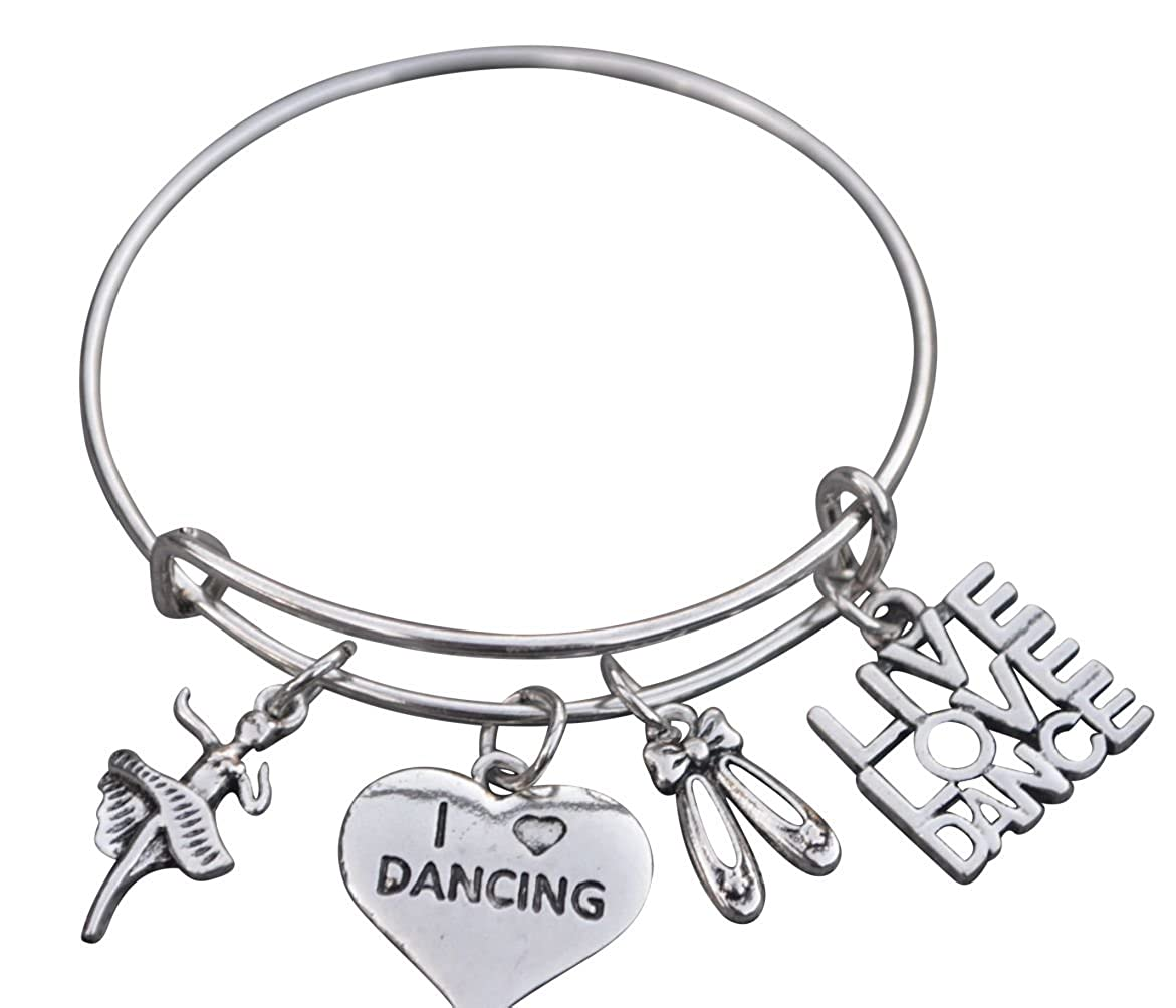 Dance Bangle Bracelet- Girls Dance Jewelry - Perfect Gift For Dance Recitals, Dancers and Dance Teams Infinity Collection