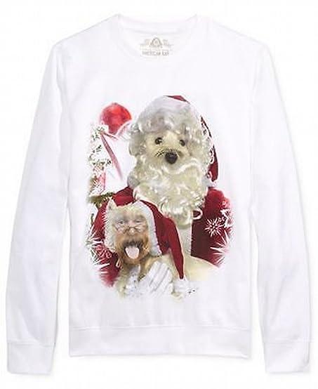 AMERICAN RAG Mens Large Santa Dog Graphic Crewneck Sweater White L ...