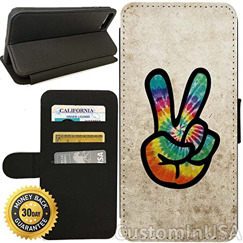 Flip Wallet Case for iPhone 8 PLUS (Grunge Hippie Peace Sign) with Adjustable Stand and 3 Card Holders | Shock Protection | Lightweight | Includes Free Stylus Pen by Innosub