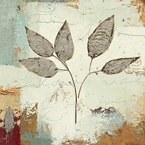 Silver Leaves Wall Art (Silver Leaves III - Fine Art Print on Canvas - Gallery Wrap - 18 x 18 Inch - Ready to Hang Wall Printing)