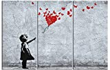 Girls Stretched Canvas Print - Girl With Butterfly Balloon, Fly Away Heart, Banksy Style, 3 Parts (71 x 47 inches)
