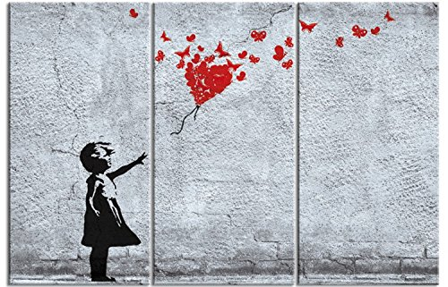 - Girls Stretched Canvas Print - Girl with Butterfly Balloon, Fly Away Heart, Banksy Style, 3 Parts (71 x 47 inches)