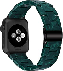 MEFEO Compatible with Apple Watch Band 38mm 40mm 42mm 44mm, Stylish Resin Bands Bracelet Replacement for iWatch Series 6 Series 5/4/3/2/1 & iWatch SE Women Men (Green Flower, 38mm/40mm)