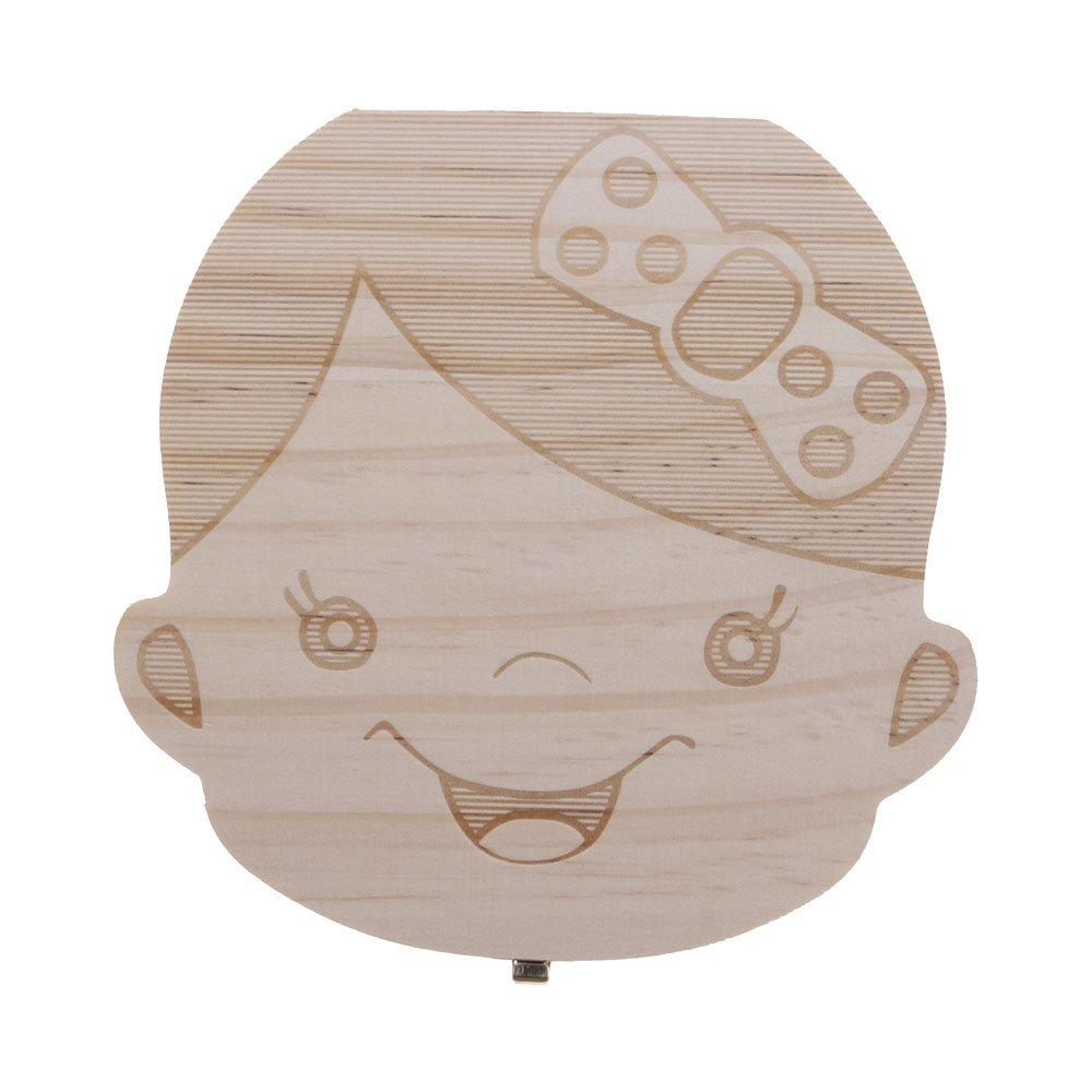 Mmrm Neu ?1 St/ück Baby-Milchz/ähne Box Speichern f/ür das Baby s/ü/ße Junge M/ädchen aus Holz personalisierte Deutsch Boy
