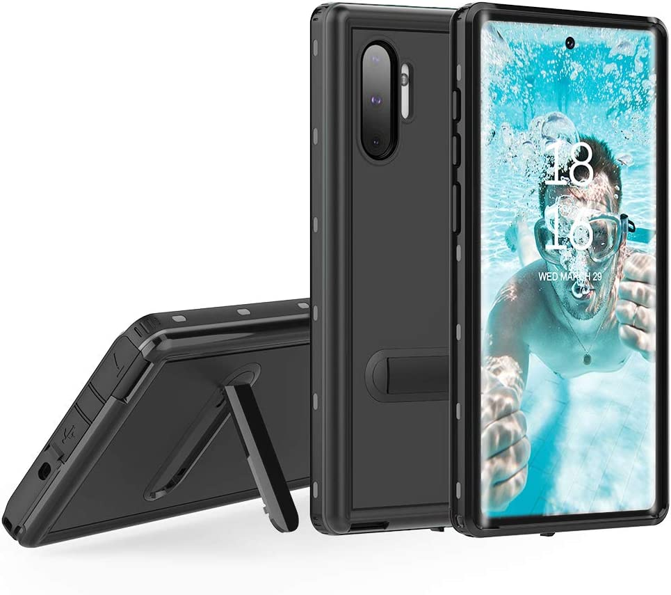 Samsung Galaxy Note 10 Waterproof Case, Shockproof Dustproof Snowproof Full-Body Underwater Protective Box Rugged Cover with Kickstand and Built in Screen Protector for Galaxy Note10 6.3inch (Black)