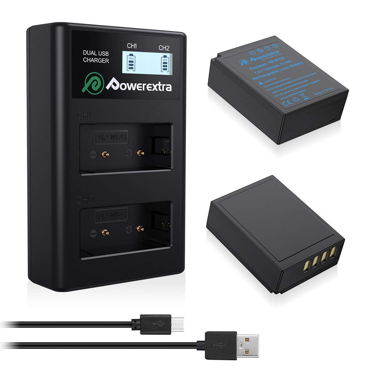 Powerextra 2X NP-W126 Battery & LCD Charger Compatible with Fujifilm X100F X-A10 X-A7 X-A5 X-A3 X-A2 X-A1 X-E2 X-E2S X-Pro1 X-Pro2 X-T1 X-T2 X-T3 X-T10 X-T20 X-T30 X-T100 X-H1 FinePix HS33EXR HS50EXR by Powerextra