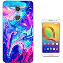 c01105 - Cool liquid Marble Effect Universe Hot Pink Blue Design alcatel A3 CASE Gel Silicone All Edges Protection Case Cover