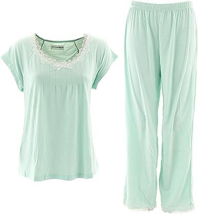 Conjunto de Pijama con Camiseta de Manga Corta y pantal/ón Largo Verde Menta
