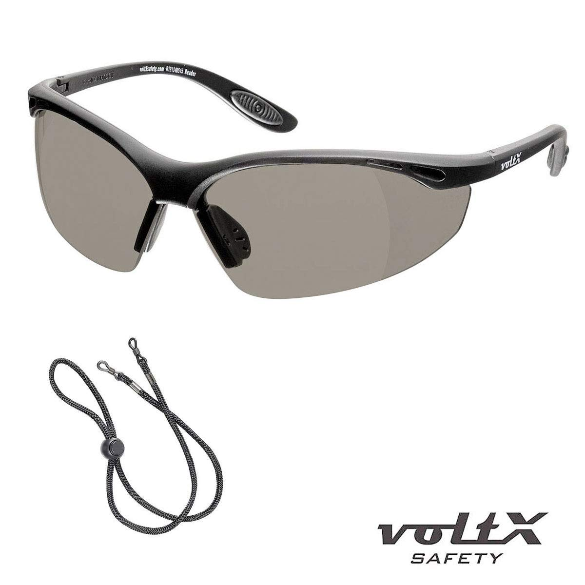 voltX Constructor SAFETY READERS Clear +1.5 Dioptre Wraparound Style Includes Safety Cord with headstop Full Lens Reading Safety Glasses CE EN166f certified