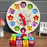 Wooden Shape Sorting Clock for Kids, Learning Telling Time Teaching Clock, Wood Montessori Childrens Toy Clock, Shape Matching Game Preschool Puzzles Educational Toys, 7 x 7 x 1 inches