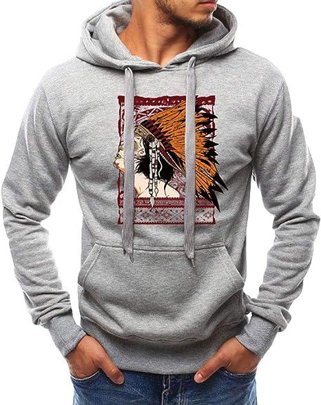 wawer Casual hombres camisa, hombre 3d impresión de geométrica – Sudadera con capucha bolsillo, mango largo Maxi camiseta, el invierno del otoño blusa Shirts Chándal, M-4 X L, color gris: Amazon.es: Deportes