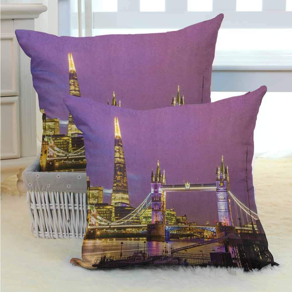 London Comfortable Pillowcases Tower Bridge in London at Night Historical Cultural Monument Europe British Urban Standard Size Bedding Gift for Bedroom Living Room Sofa Home Decor 2PCS -