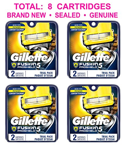 Price comparison product image (PACK of 4) Gillette Fusion5 PROSHIELD Men Razor REFILLS Blades, 2 Count EACH, TOTAL: 8 CARTRIDGES, SEALED GENUINE (Fusion 5)