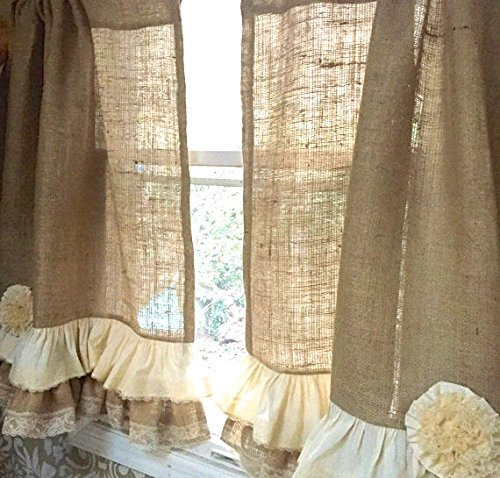 Burlap Lace Cafe Curtains