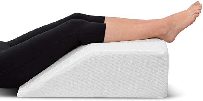 Leg Elevation Pillow - with Memory Foam Top, High-Density Leg Rest Elevating Foam Wedge- Relieves Leg Pain, Hip and Knee Pain, Improves Blood Circulation, Reduces Swelling - Breathable, Washable Cover