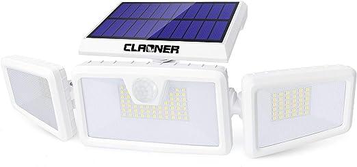 Claoner Luz Solar Exterior, 132LED/ 3 Modos Foco Solar Exterior con Sensor de Movimiento 3 Cabezas IP65 Impermeable 360 ° Ajustable 2200mAh Lámpara de Seguridad para Frente Puerta Yarda Jardín Garaje: Amazon.es: Iluminación