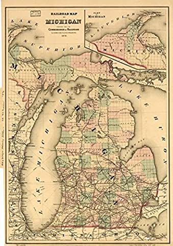 Wall Art Print entitled Vintage Map Of The Michigan Railroads (1876) by Alleycatshirts @Zazzle | 11 x - Michigan Antique Map