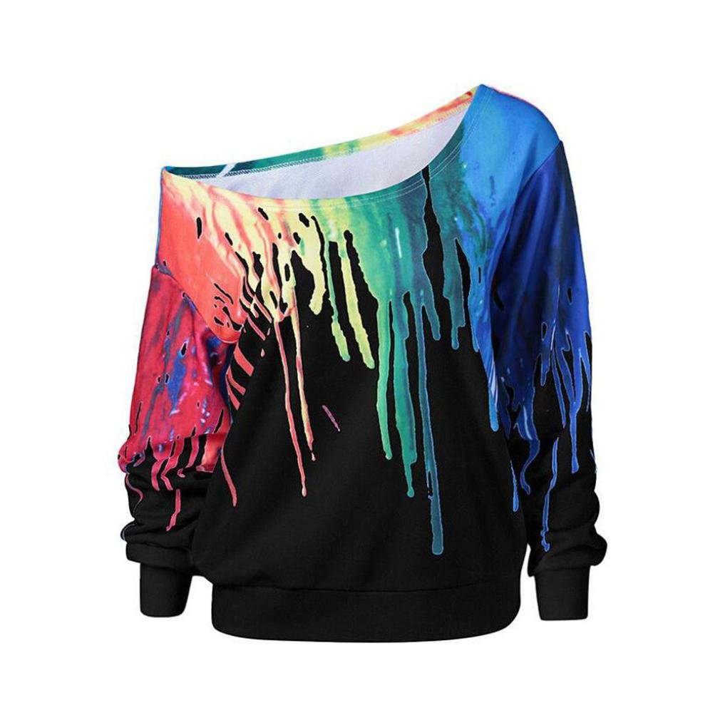 Napoo Women Pullover Sweatshirt, Oblique Collar Colorful Rainbow Printing Plus Size Casual Tops (XL, Black) by Napoo