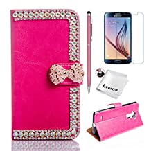 Alpha Case, Samsung Galaxy Alpha G850F Case, Everun [Card Slots][Kickstand Feature] Luxury 3D Diamond Bling Bowknot PU Leather Flip Case Cover for Samsung Galaxy Alpha G850F
