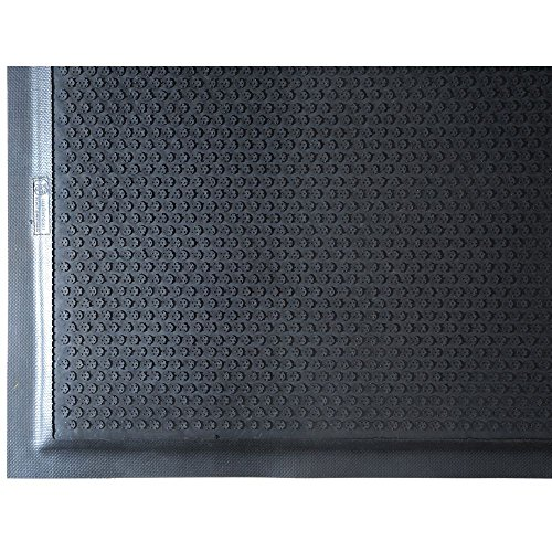 M+A Matting 475 Happy Feet Nitrile Rubber Grip Surface Anti-Fatigue Interior Floor Mat with Black Border, 3' Length x 2' Width, 1/2