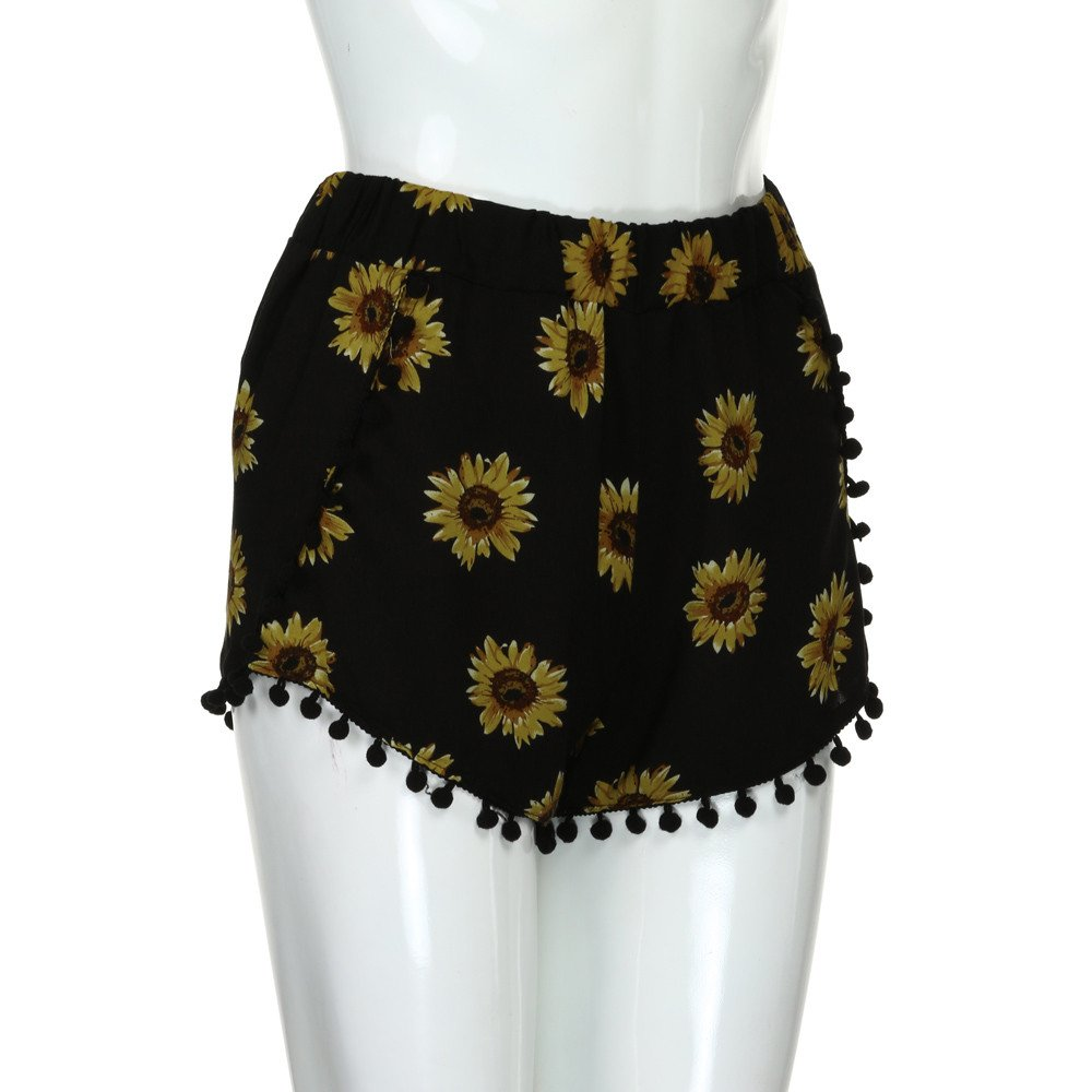 Clearance Womens Small Balls Tassel Edge Floral Print Beach Shorts