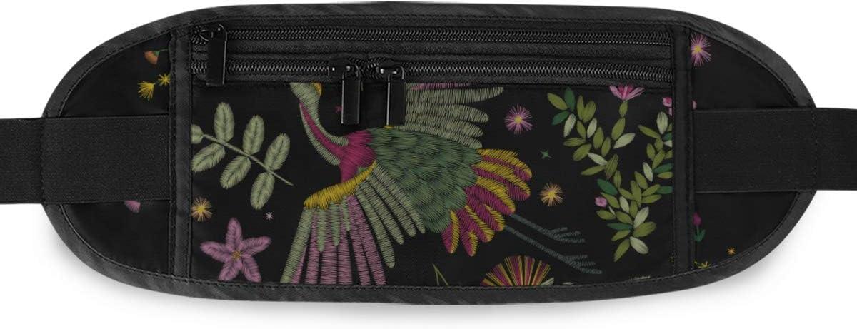Crane Bird Flowers Rose Rosehip Plant Running Lumbar Pack For Travel Outdoor Sports Walking Travel Waist Pack,travel Pocket With Adjustable Belt