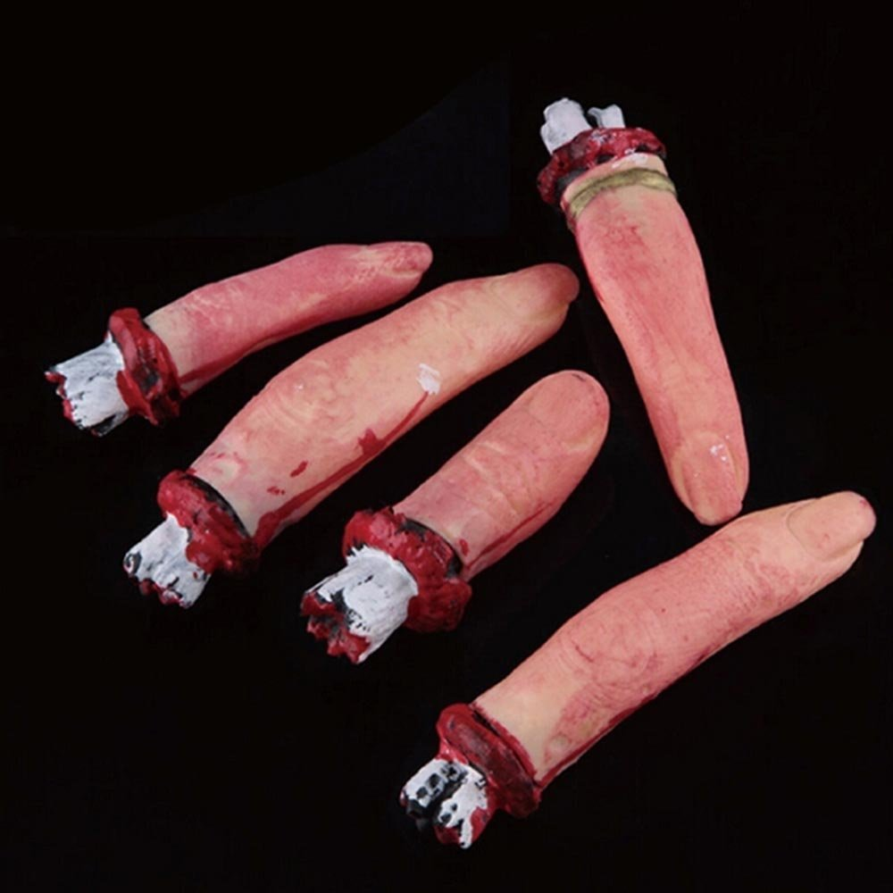 AKOAK 5 Pcs Scary Bloody Severed Chopped Off Fingers Chop Halloween Party Decorations Prop