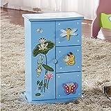 HAU LI WU USA Children's Mini 4-drawer Baby Blue Jewelry Box