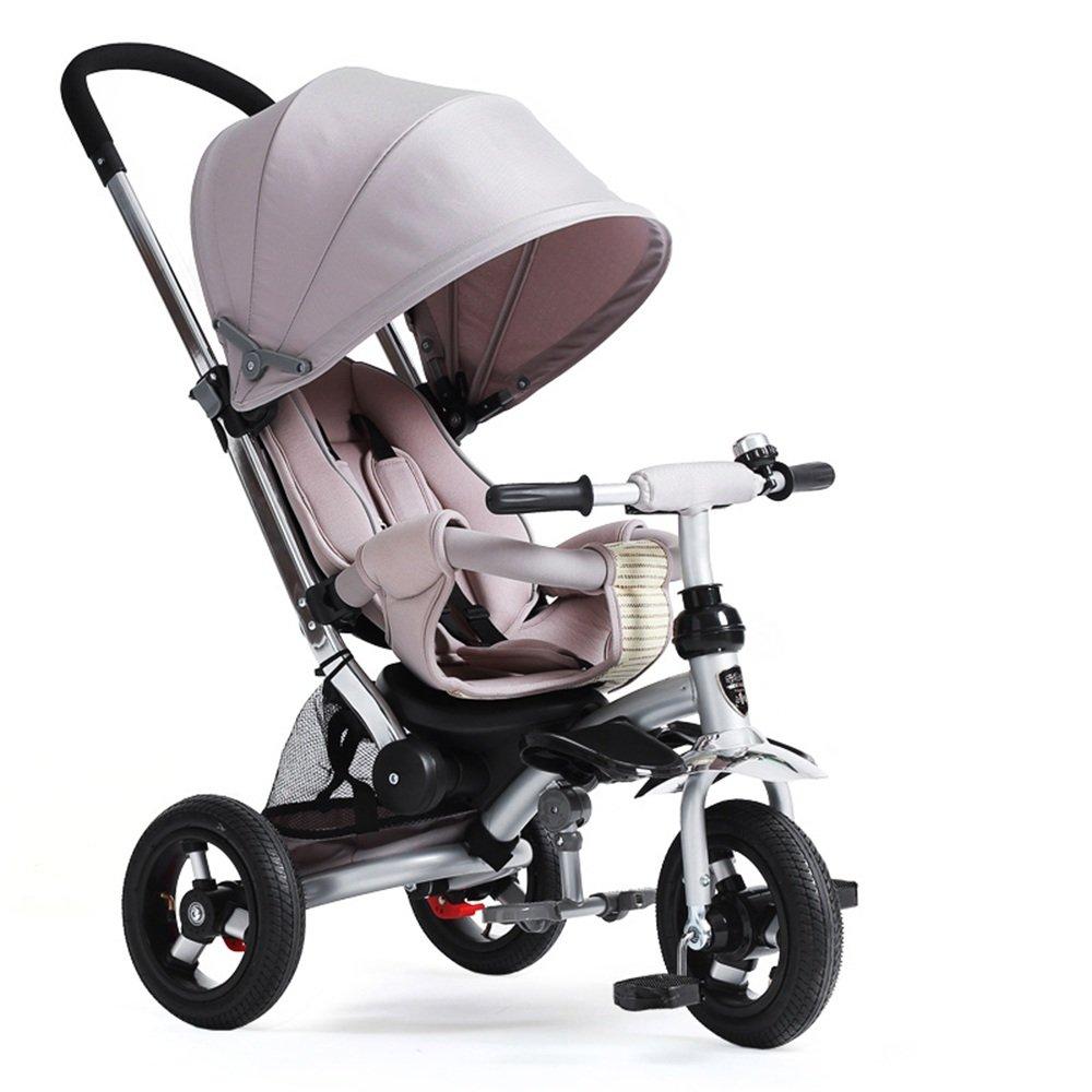 HAIZHEN マウンテンバイク 回転式シート、背もたれをリクライニングしている4人の子供の3人乗り三輪車 新生児 B07C6R7CLQ グレー グレー