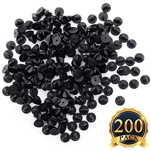 SUBANG 200 Pieces Rubber Pin Backs PVC Black Pin Keepers