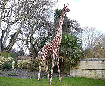 Superb Large Life Size Hand Painted Metal Giraffe. 3.7m Indoor Or Outdoor  Feature
