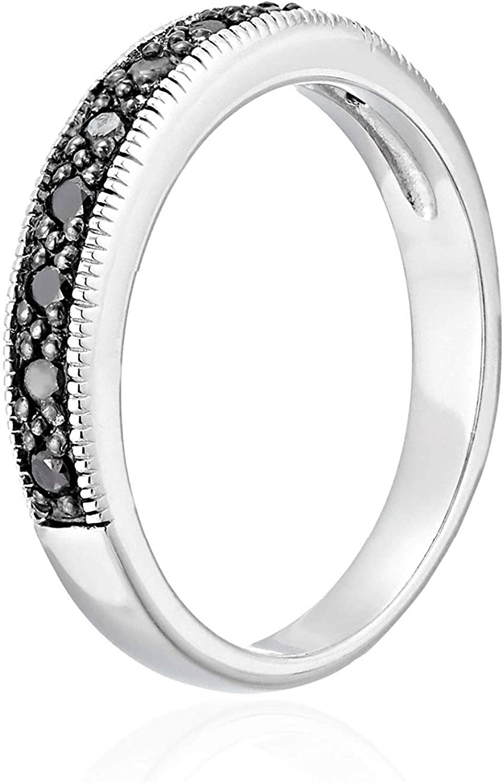 1//4 CT Sterling Silver Black Diamond Wedding Band