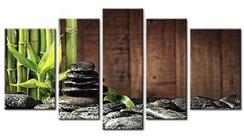 5 Verkleidung Grün Spa Konzept Bambus Hain Und Schwarz Zen Steine Alt  Hölzerner Hintergrund Wandkunst Malerei