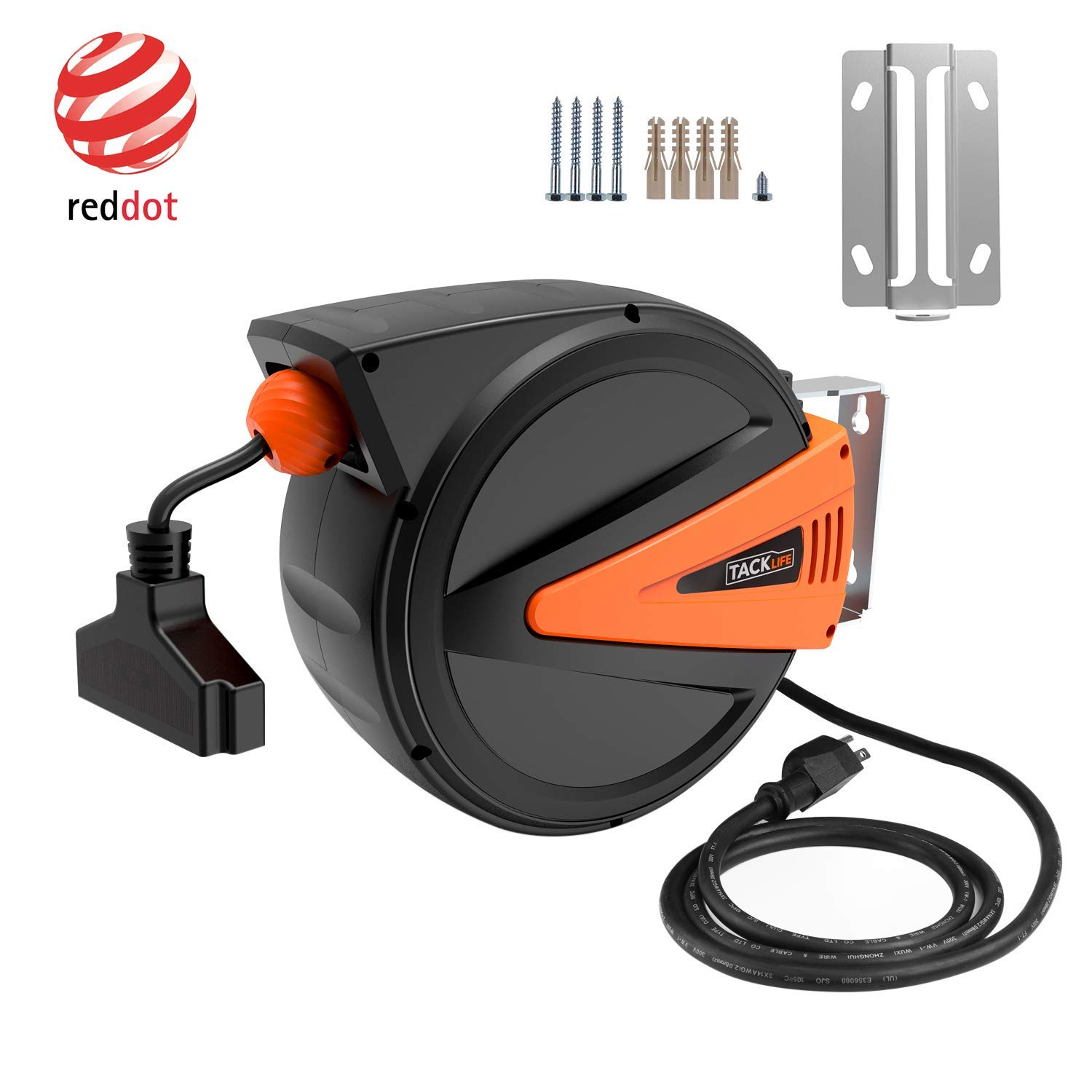Retractable Extension Cord Reel, TACKLIFE 50+4.5FT Cord Reel, 14AWG, 3C SJTOW. 2 In 1 Mountable & Portable Power Cord Reel with 3 Electrical Outlets, 180° Swivel Mounting Bracket+Adjustable Stopper.