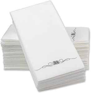 Silver Foil Stamped Airlaid Paper Dinner Napkins – 1/6 Fold 12