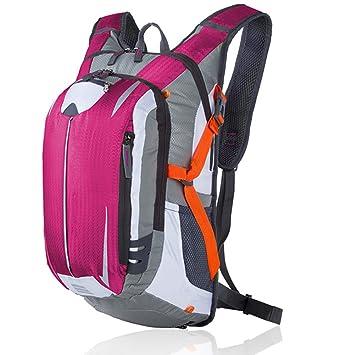 Ciclismo bicicleta mochila mochilas deporte bolsa de malla de la mochila Equipada con casco, rosa (b): Amazon.es: Deportes y aire libre