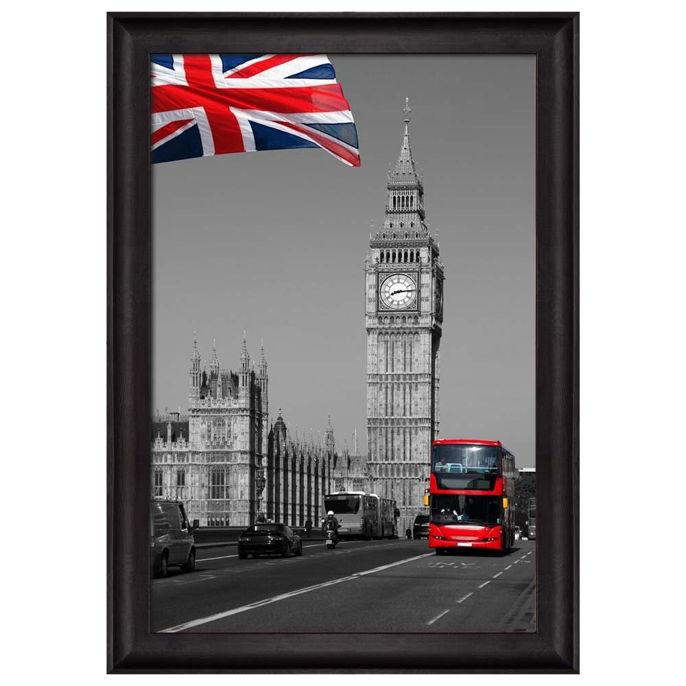 Black and White Photograph with Pop of Color on the British Flag ...